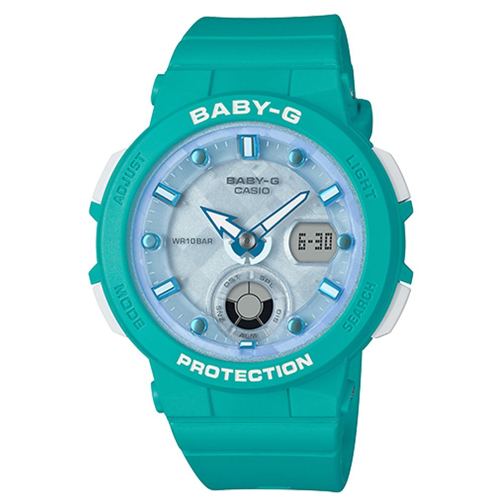BABY-G 海洋風情雙顯女錶 樹脂錶帶 水藍色錶面 防水100米 世界時間 BGA-250-2A