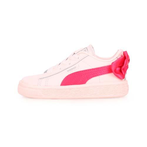 (童) PUMA BASKET BOW AC LNF 女兒休閒運動鞋-蝴蝶結款-慢跑 粉桃紅