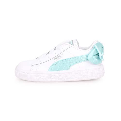 (童) PUMA BASKET BOW AC LNF 女兒休閒運動鞋-蝴蝶結款-慢跑 白湖水綠