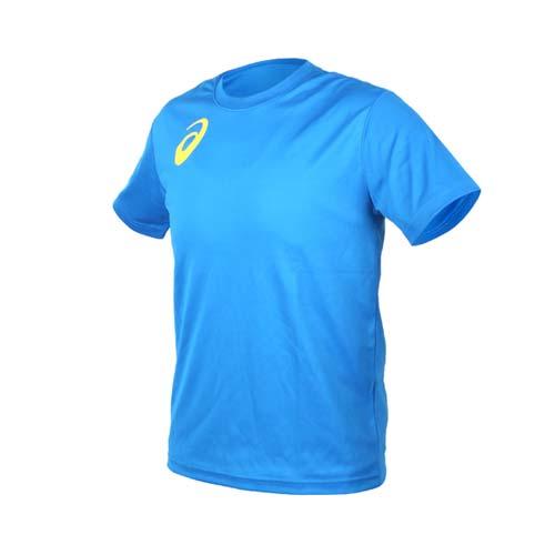 (男女) ASICS 限量運動排汗LOGO短袖T恤-慢跑 路跑 亞瑟士 寶藍黃