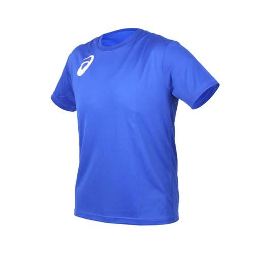 (男女) ASICS 限量運動排汗LOGO短袖T恤-慢跑 路跑 亞瑟士 藍白