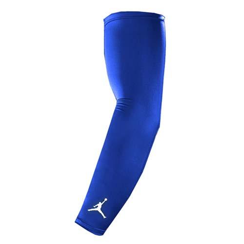 NIKE JORDAN DRI-FIT臂套-防曬 慢跑 單車 自行車 袖套 一雙入 藍白 S