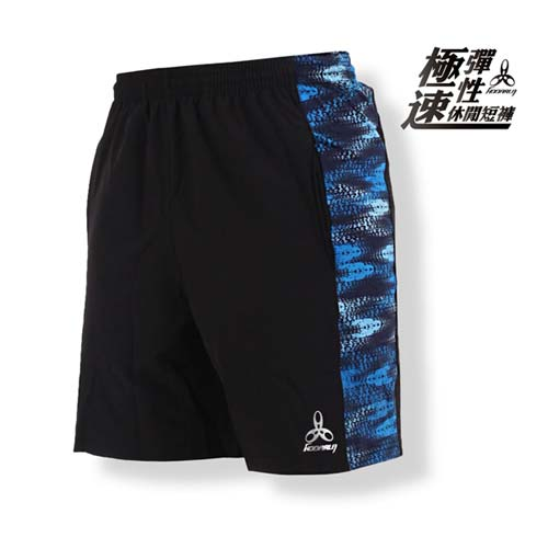 (男) HODARLA 極速彈性休閒短褲-台灣製 健身 訓練 慢跑 路跑 五分褲 黑藍