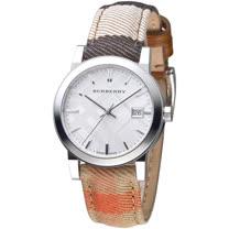 BURBERRY 倫敦精品幾何圖形設計皮帶女錶-銀白/彩色格紋(BU9151)