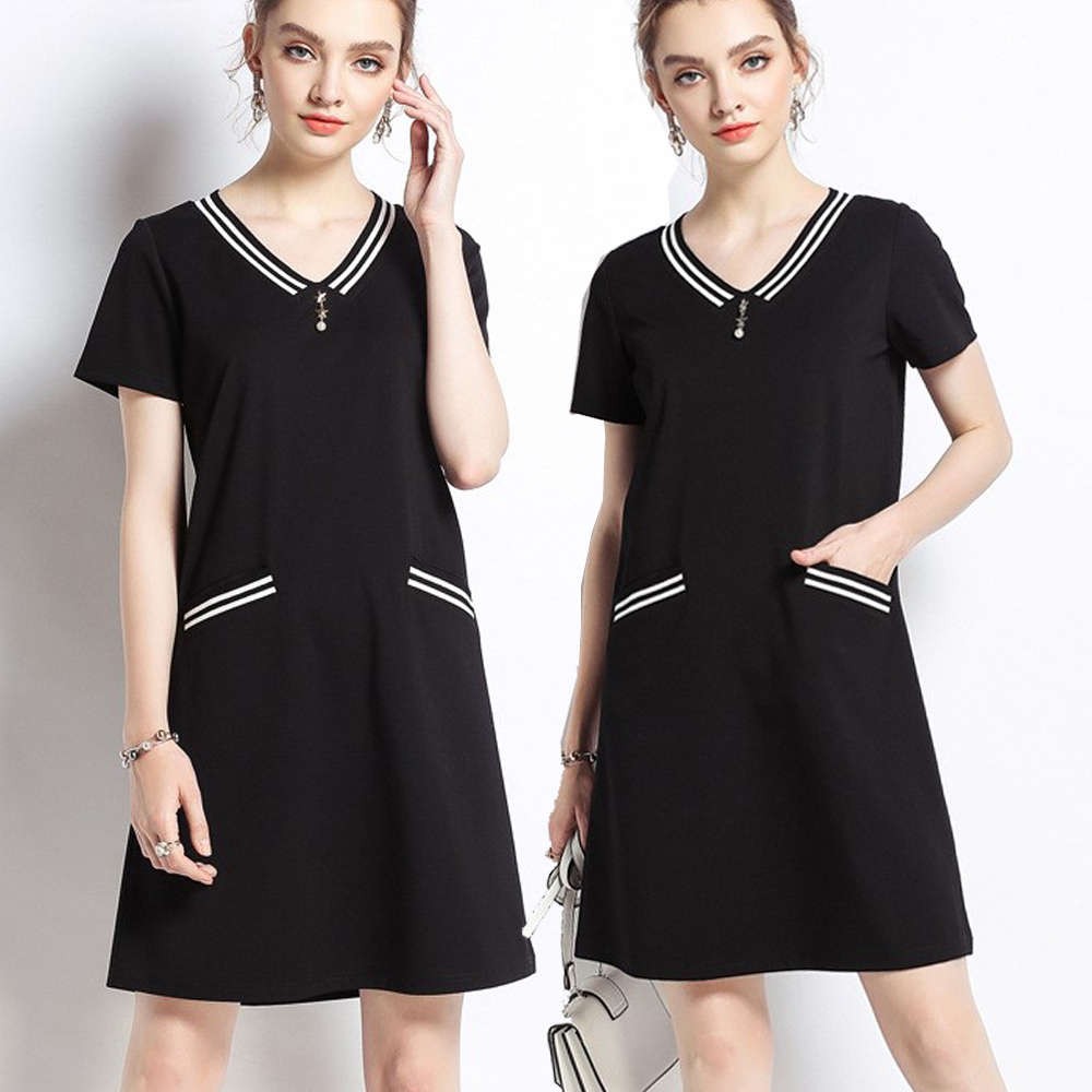 麗質達人(M-5XL)黑色V領短袖洋裝7638