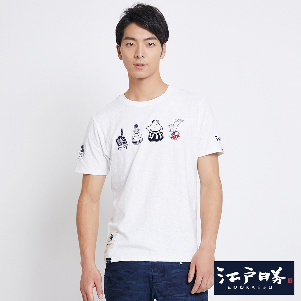 EDWIN 江戶勝 日本趣味童玩短袖T恤-男款 米白