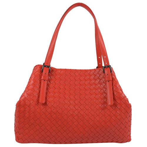 BOTTEGA VENETA  經典手工編織小羊皮造型肩背托特包.紅