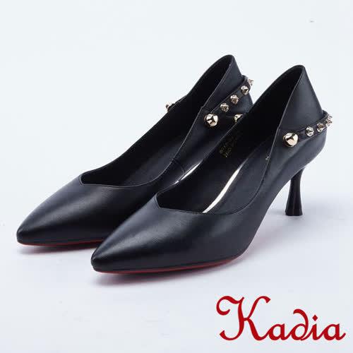 kadia.真皮鉚釘飾釦尖頭高跟鞋(8013-91黑色)