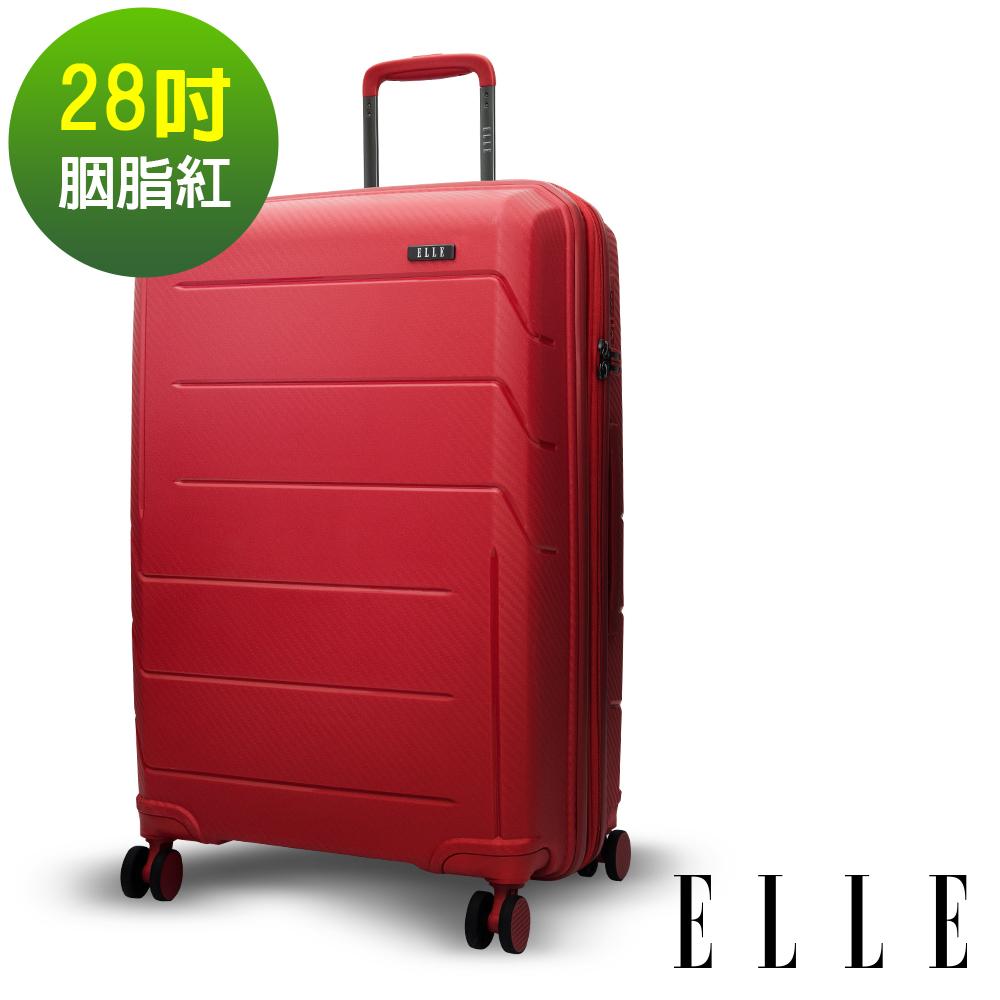 ELLE 鏡花水月系列-28吋特級極輕防刮耐磨PP材質旅行箱/行李箱-胭脂紅EL31210