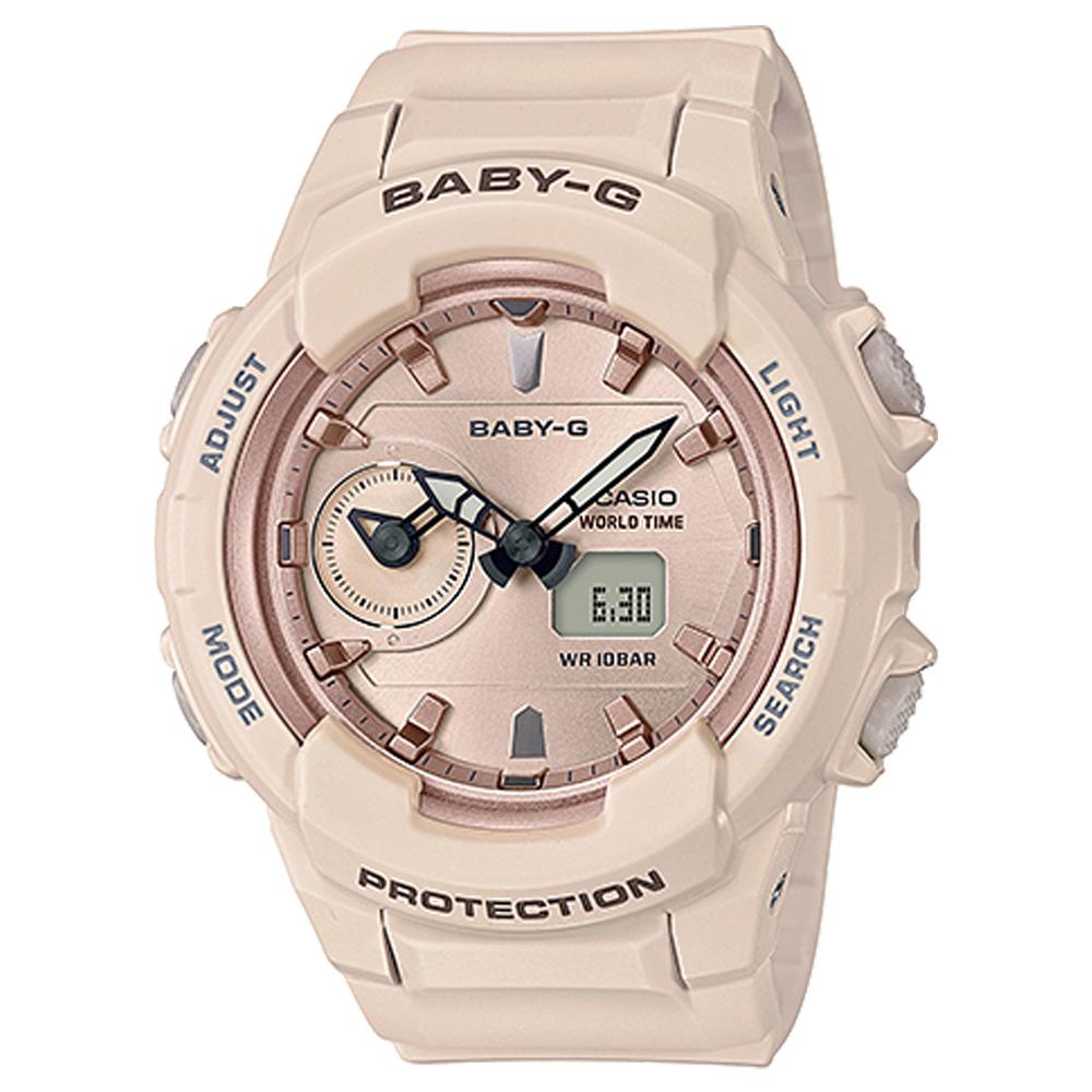 BABY-G 柔和氣質雙顯女錶 樹脂錶帶 防水100米 世界時間 BGA-230SA-4A
