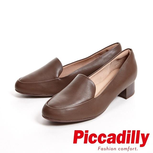 Piccadilly 專業上班族 粗跟低跟女鞋-咖(另有黑、亮面藍)