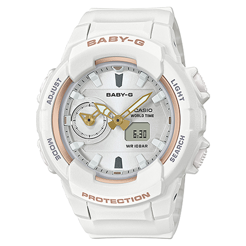 BABY-G 柔和氣質雙顯女錶 樹脂錶帶 防水100米 世界時間 BGA-230SA-7A