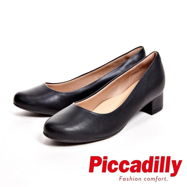 Piccadilly 俐落優雅 粗跟低跟女鞋-黑(另有亮面藍)