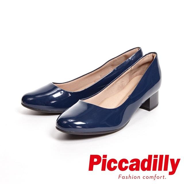 Piccadilly 俐落優雅 粗跟低跟女鞋-亮面藍(另有黑)