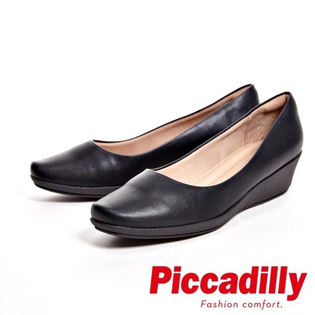 Piccadilly 內斂沉穩 方頭厚底楔型女鞋-黑