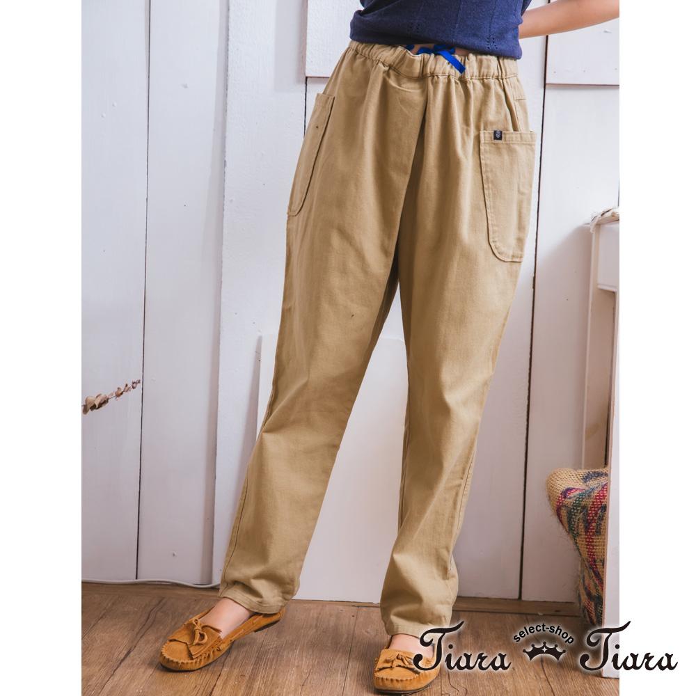 【Tiara Tiara】GO春夏 日系純棉鬆緊腰寬版長褲(卡其/藍/黑)