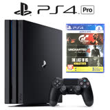 SONY PS4 Pro 極致黑1TB主機+【PS4 秘境4+GT+生還者+PSN 3個月(中文版) / 3in1合輯】