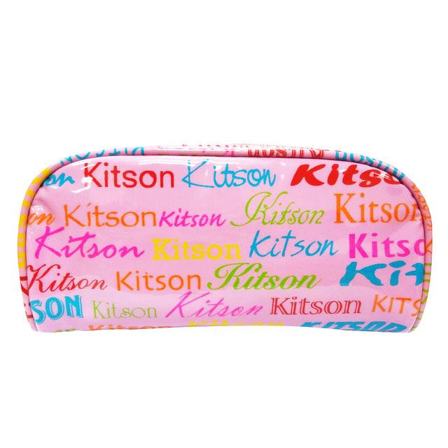 Kitson  繽紛LOGO 漆皮化妝包 (粉紅)