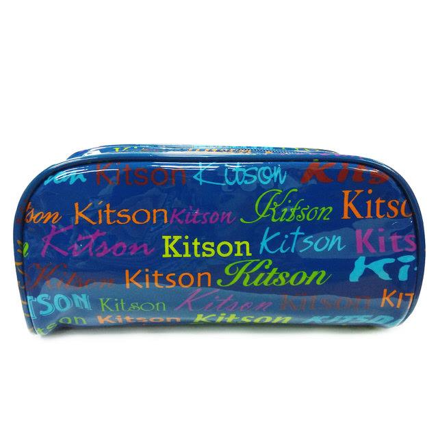 Kitson  繽紛LOGO 漆皮化妝包 (藍)