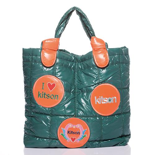 Kitson 徽章圖案鋪棉托特包 OLIVE/ORANGE