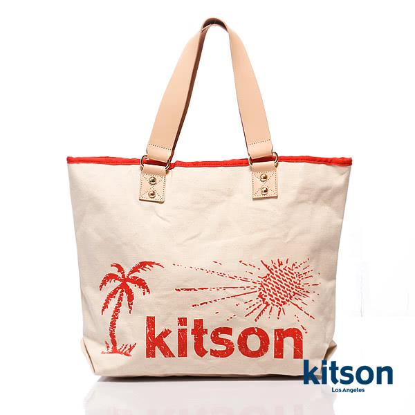 Kitson 夏威夷風真皮背帶托特包(L) RED