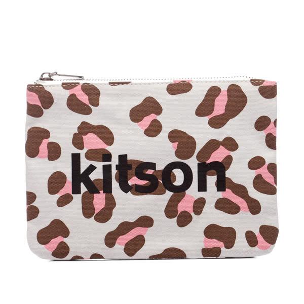 Kitson 豹紋帆布隨身包 / 化妝包-PINK