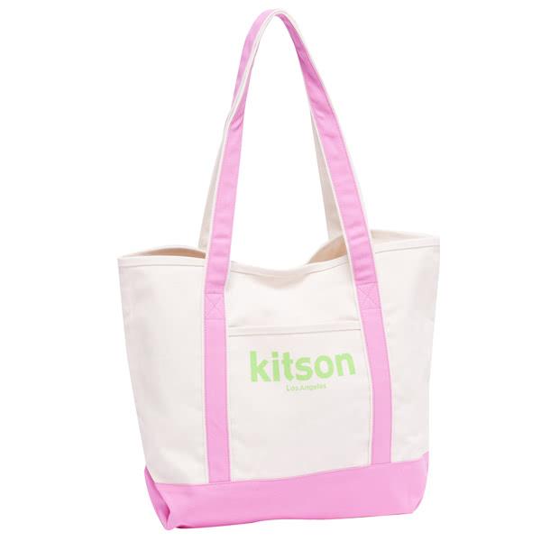 Kitson  全台獨家 休閒渡假風帆布托特包(輕甜粉)