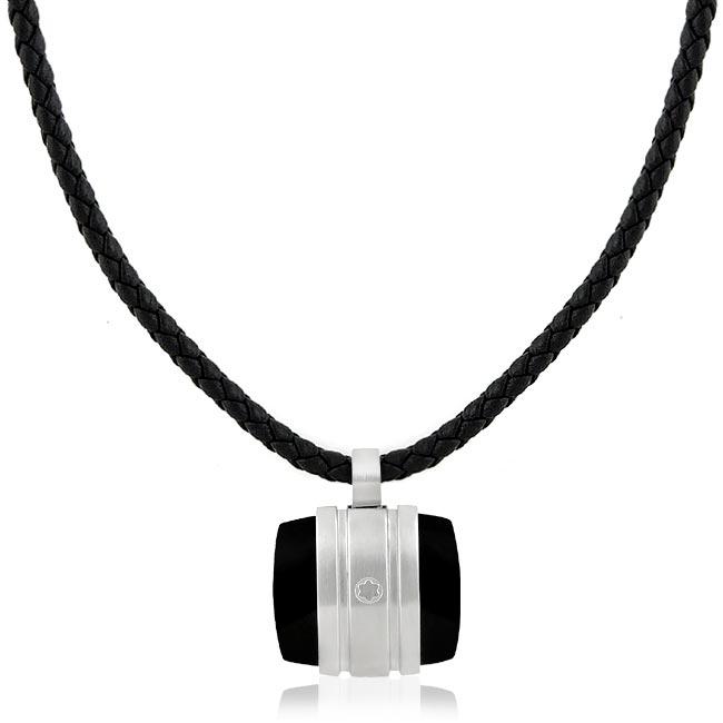 MONT BLANC 萬寶龍 白朗峰禮讚典藏系列瑪瑙墜飾項鍊-黑色