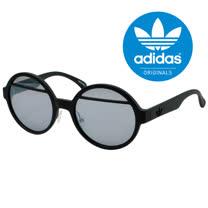 【adidas 愛迪達】潮流三葉草經典LOGO復古圓框太陽眼鏡/運動眼鏡#黑框001-009-000