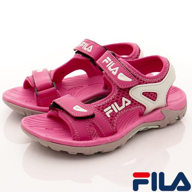FILA頂級童鞋-運動休閒拖涼鞋-413S-233粉-(19-24cm)