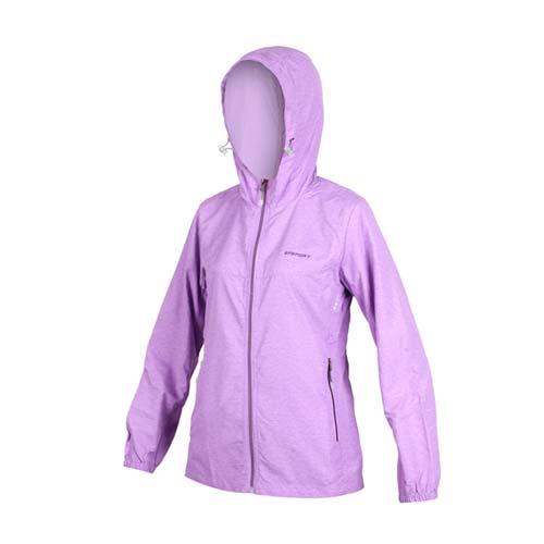 (女) SOFO 風衣外套-防風 連帽外套 慢跑 紫