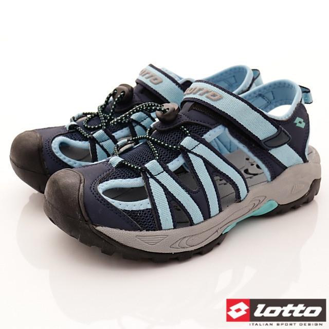 Lotto義大利運動鞋-護趾休閒涼鞋-WS6366藍-22-25cm