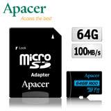 夜殺-Apacer宇瞻 64GB MicroSDXC UHS-I U3 V30 100MB 4K記憶卡