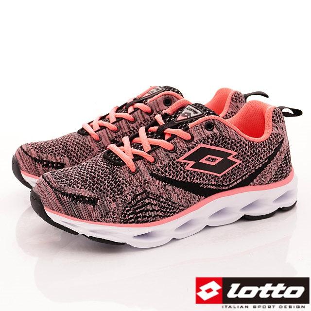 Lotto義大利運動鞋-潮流織網運動款-WR6290黑亮桔-23-25cm