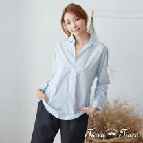 【Tiara Tiara】百貨同步 都會風純棉半開襟襯衫(淺藍/藍格紋/黑格紋)