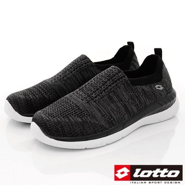 Lotto義大利運動鞋-飛織輕走鞋-WX5900黑-22.5-25cm