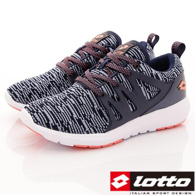Lotto義大利運動鞋-飛織彈力潮流鞋-WR5936灰藍-23-25.5cm