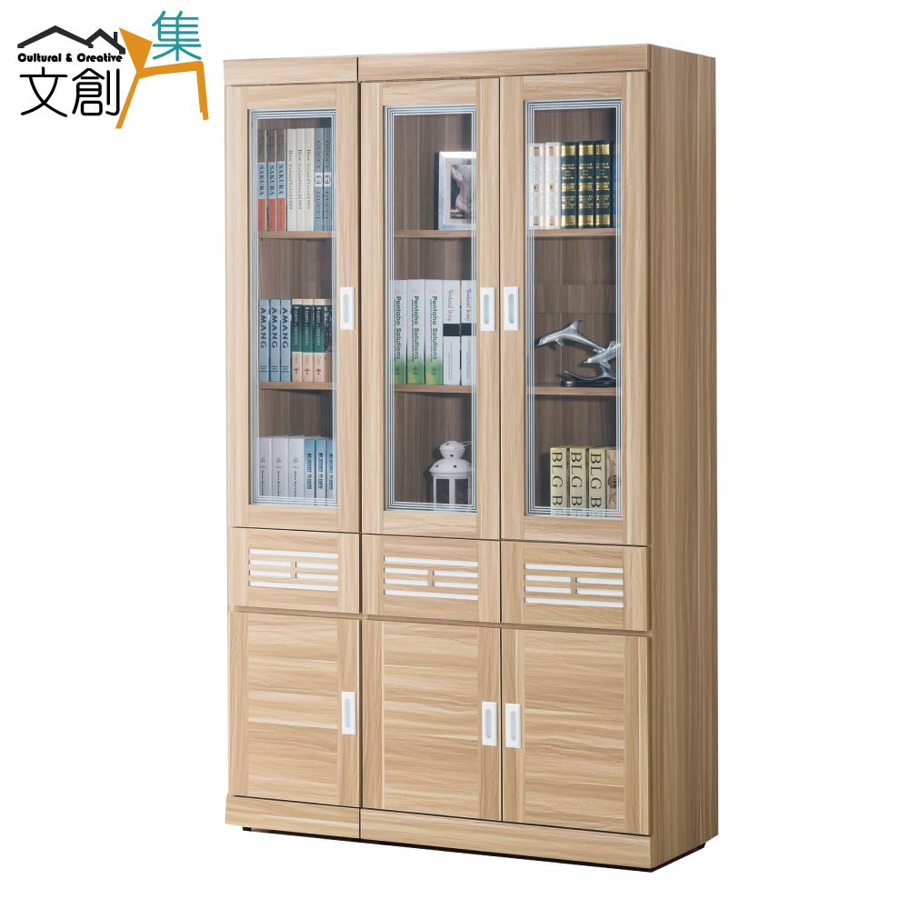 【文創集】洛托利 時尚4.1尺木紋書櫃/收納櫃組合