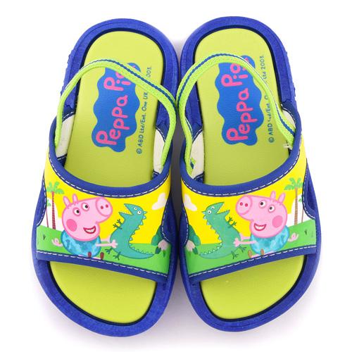 童鞋城堡-粉紅豬小妹 喬治豬 中小童 戶外拖鞋PG0068-藍