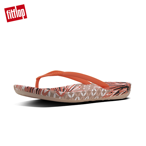 FitFlop™-(女款)IQUSHION™ ERGONOMIC FLIP FLOPS - DAISY-PRINT-珊瑚橘印花