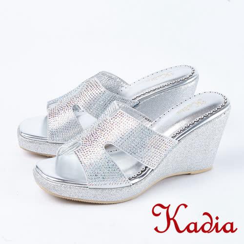 Kadia.閃耀水鑽氣質楔型高跟涼鞋(8127-11銀)