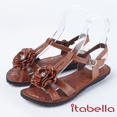 kadia 真皮立體花朵涼鞋