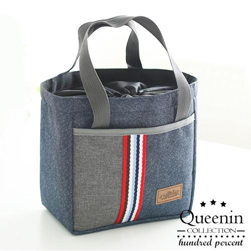 DF Queenin日韓 - 輕巧日系束口保溫保冰手提便當袋