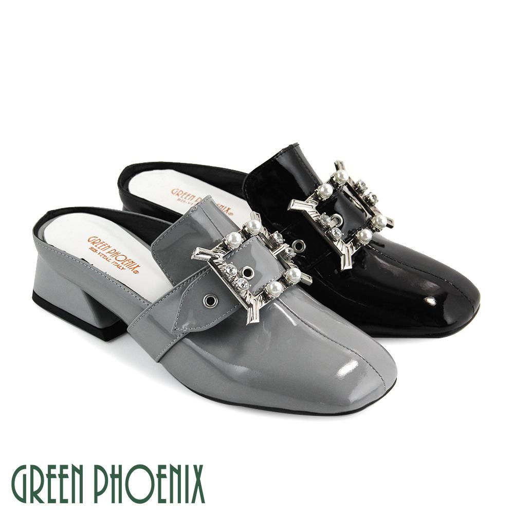 【GREEN PHOENIX】國際精品方形金屬裝飾水鑽珍珠義大利漆皮粗跟穆勒鞋