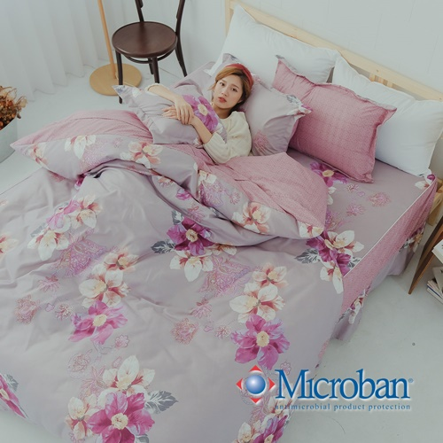 Microban《芳菲好時》美國抗菌雙人五件式舖棉兩用被床罩組