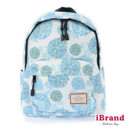 iBrand 學院風印花潮流防潑水口袋後背包-繡球花