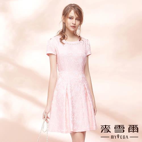 【麥雪爾】日系優雅印花立體剪裁收腰洋裝