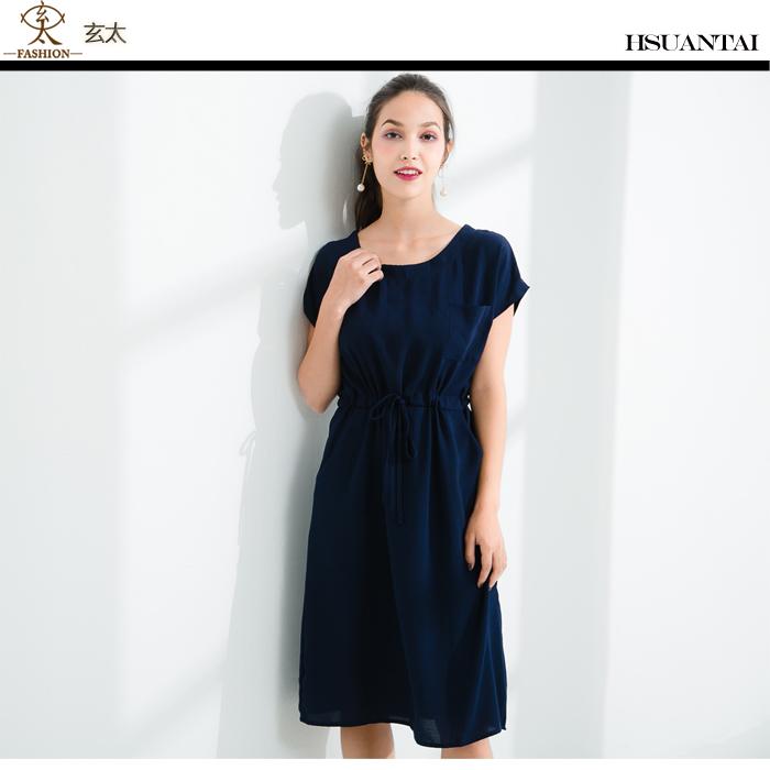 玄太-圓領純色腰間抽繩造型洋裝 (藍)