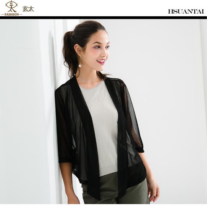 玄太-純色開襟細緻七分袖罩衫 (黑)