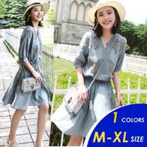 【俏可時尚】預購-韓系造型小V領蕾絲併接雪紡連身裙5093